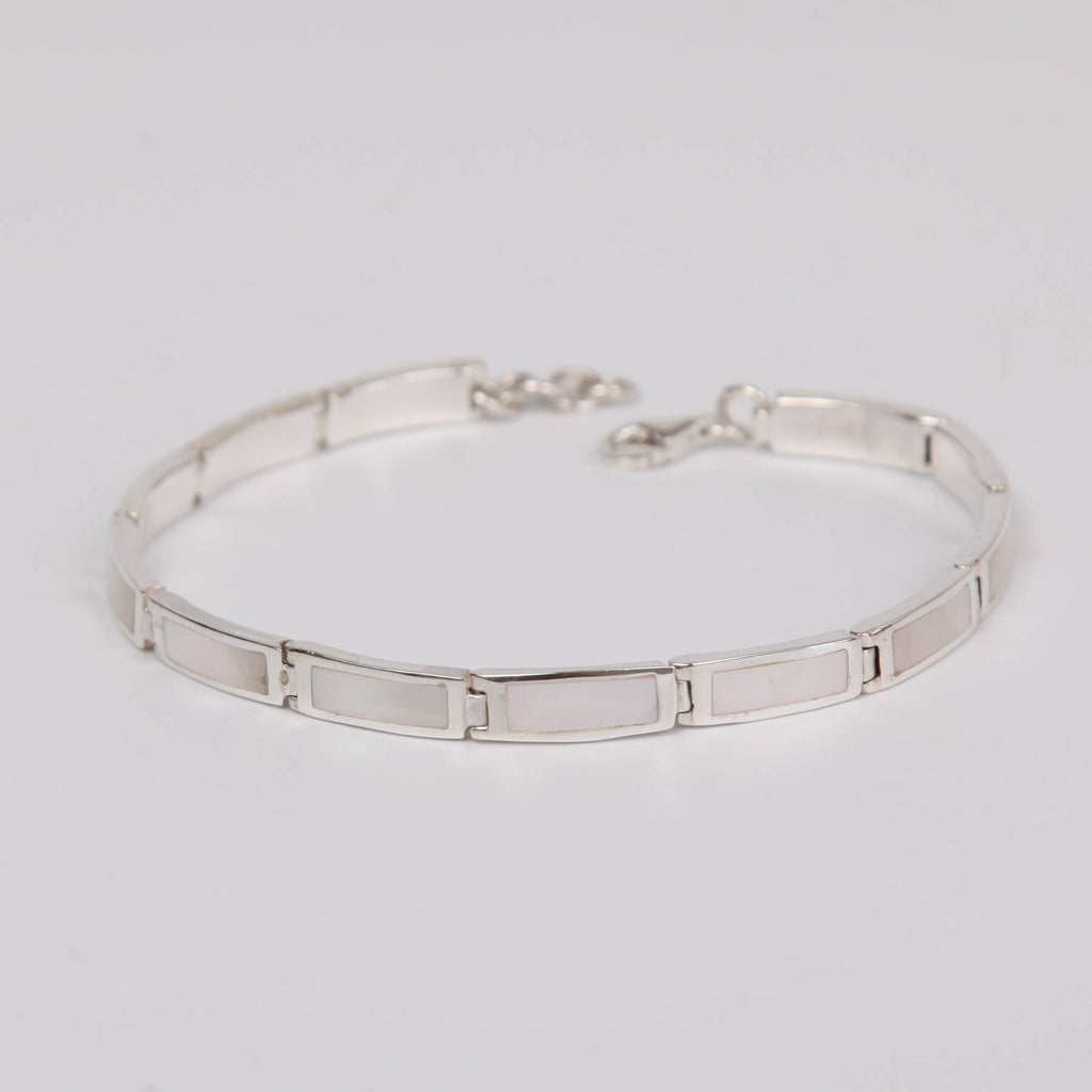 Mother of Pearl Bracelet with Sterling Silver Thin