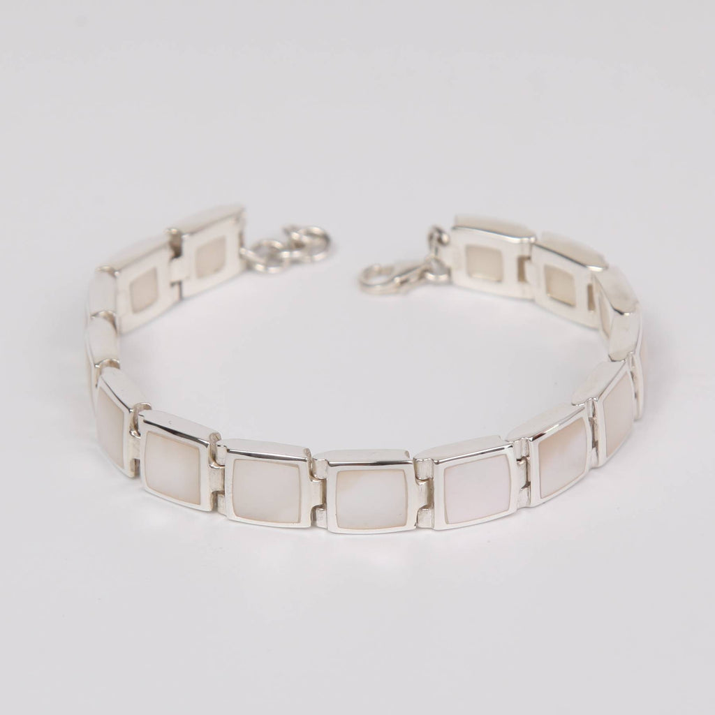 Mother of Pearl Bracelet with Sterling Silver Large