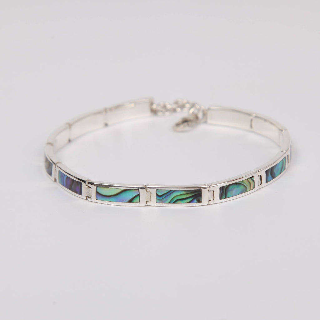 Paua Shell (Rainbow Abalone) Bracelet with Sterling Silver Small