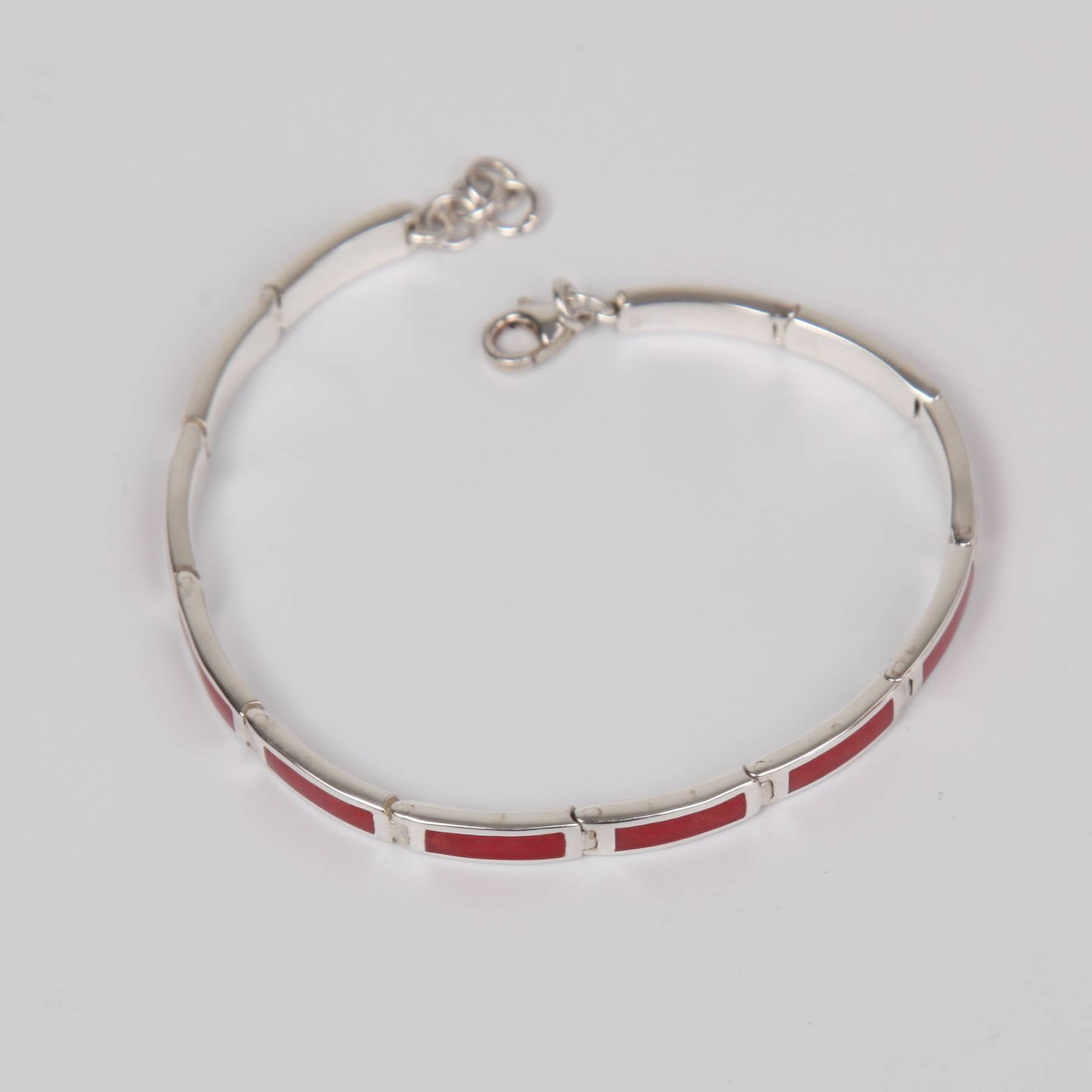 Red Coral Bracelet with Sterling Silver Small