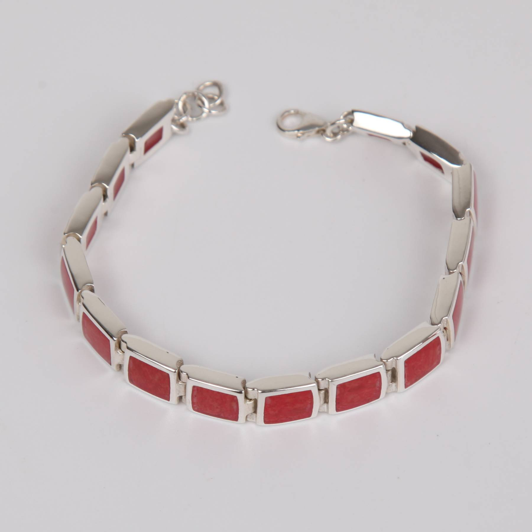 Red Coral Bracelet with Sterling Silver Large