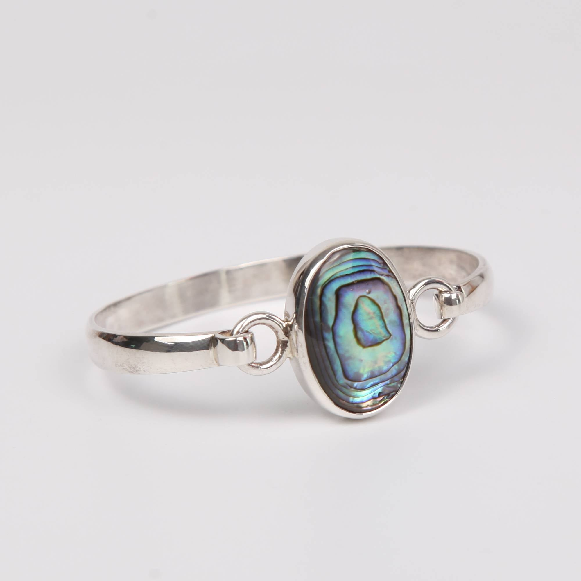 Sterling Silver Bangle with Paua Shell (Rainbow Abalone)