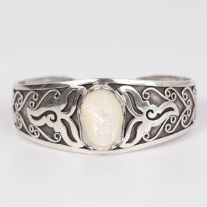 Mother of Pearl Buddha Head Bangle with Sterling Silver