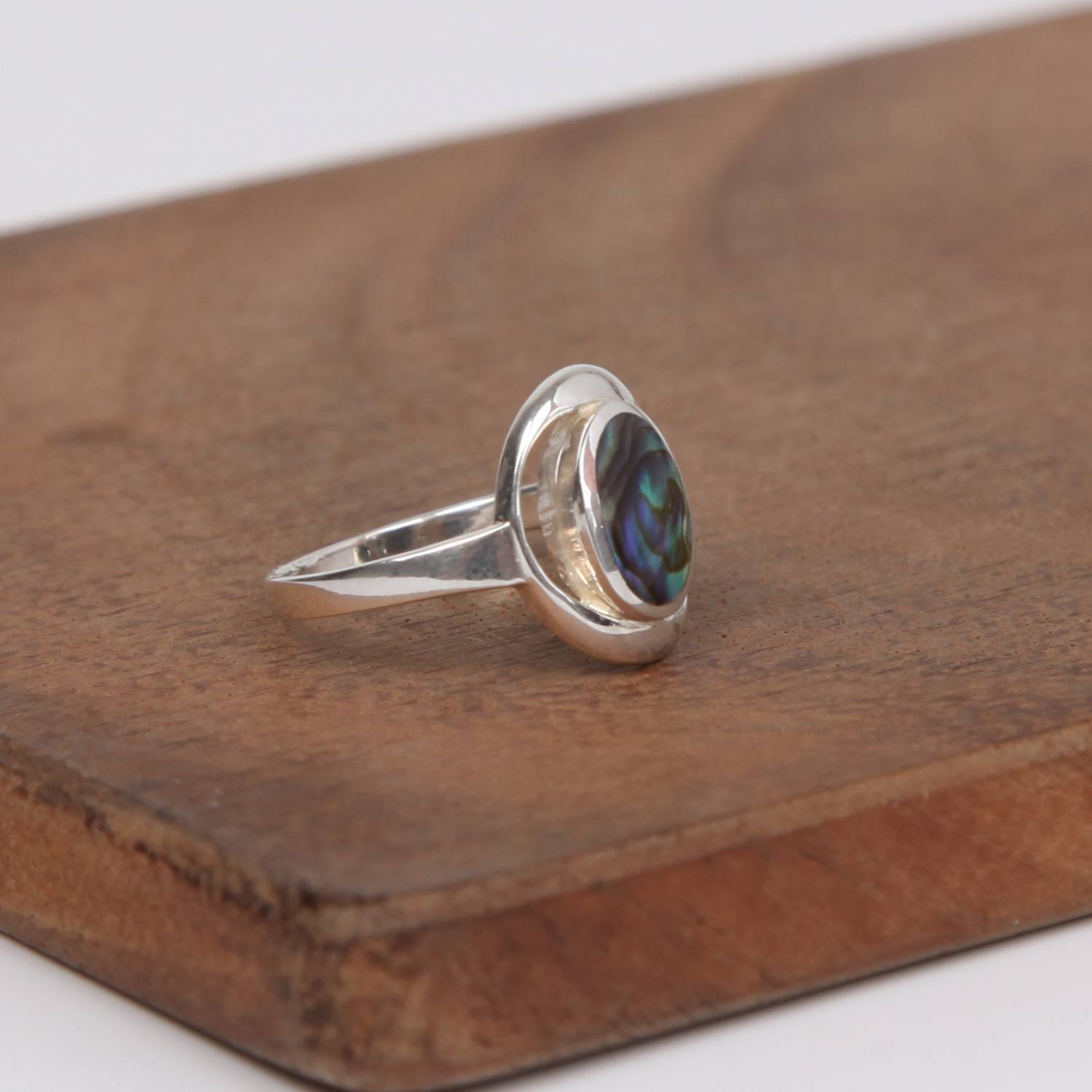 Sterling Silver Ring with Paua Shell( Rainbow Abalone)