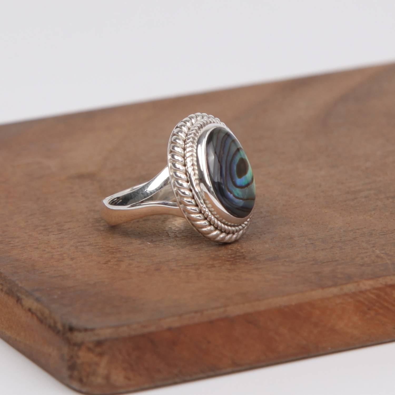 Detailed Sterling Silver Ring with Paua Shell( Rainbow Abalone)
