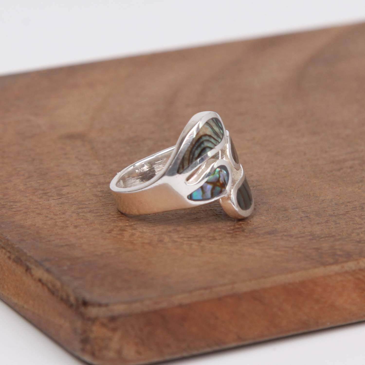 Four Piece Sterling Silver Ring with Paua Shell( Rainbow Abalone)