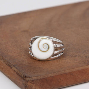 Circle Sterling Silver ring with Shiva Eye Shell