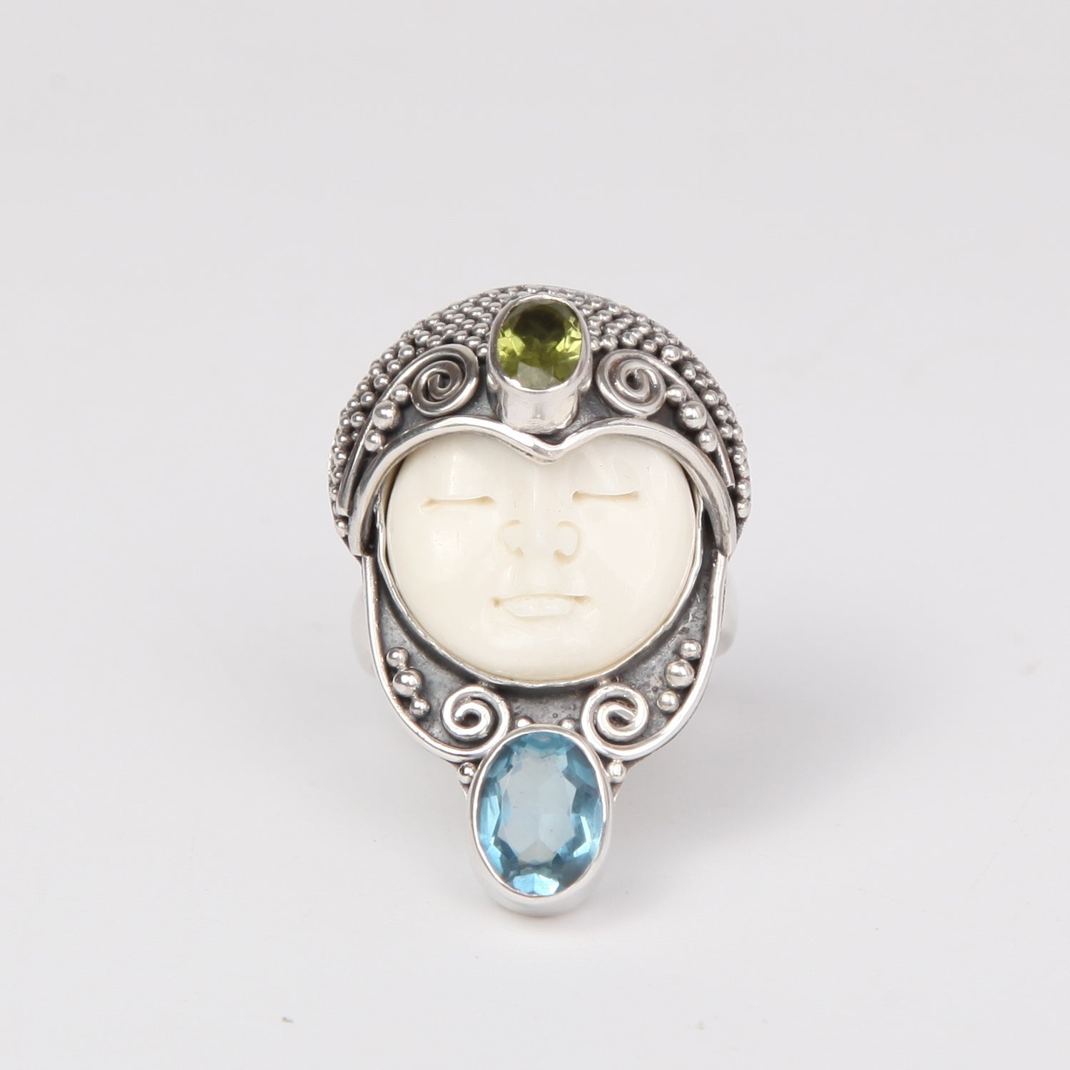 Buffalo Bone (Moon face) Sterling Silver Ring with Blue opaz and Peridot