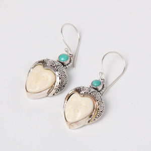 Buffalo Bone (Moon face) Sterling Silver Earring with Turquoise