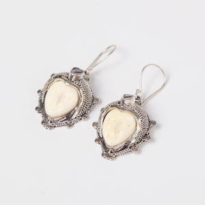 Buffalo Bone (Moon face) Sterling Silver Earring with Amethyst