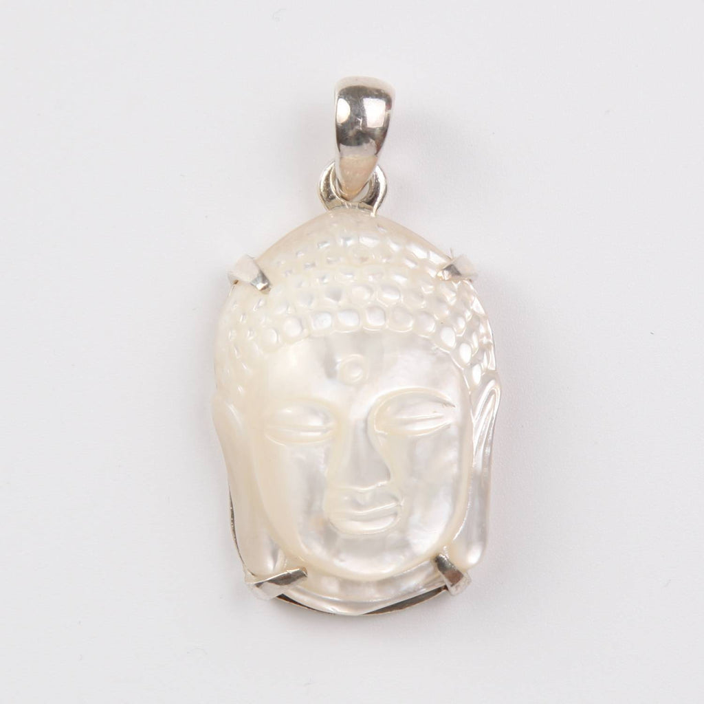 Mother of Pearl Buddha Head Sterling Silver Pendant