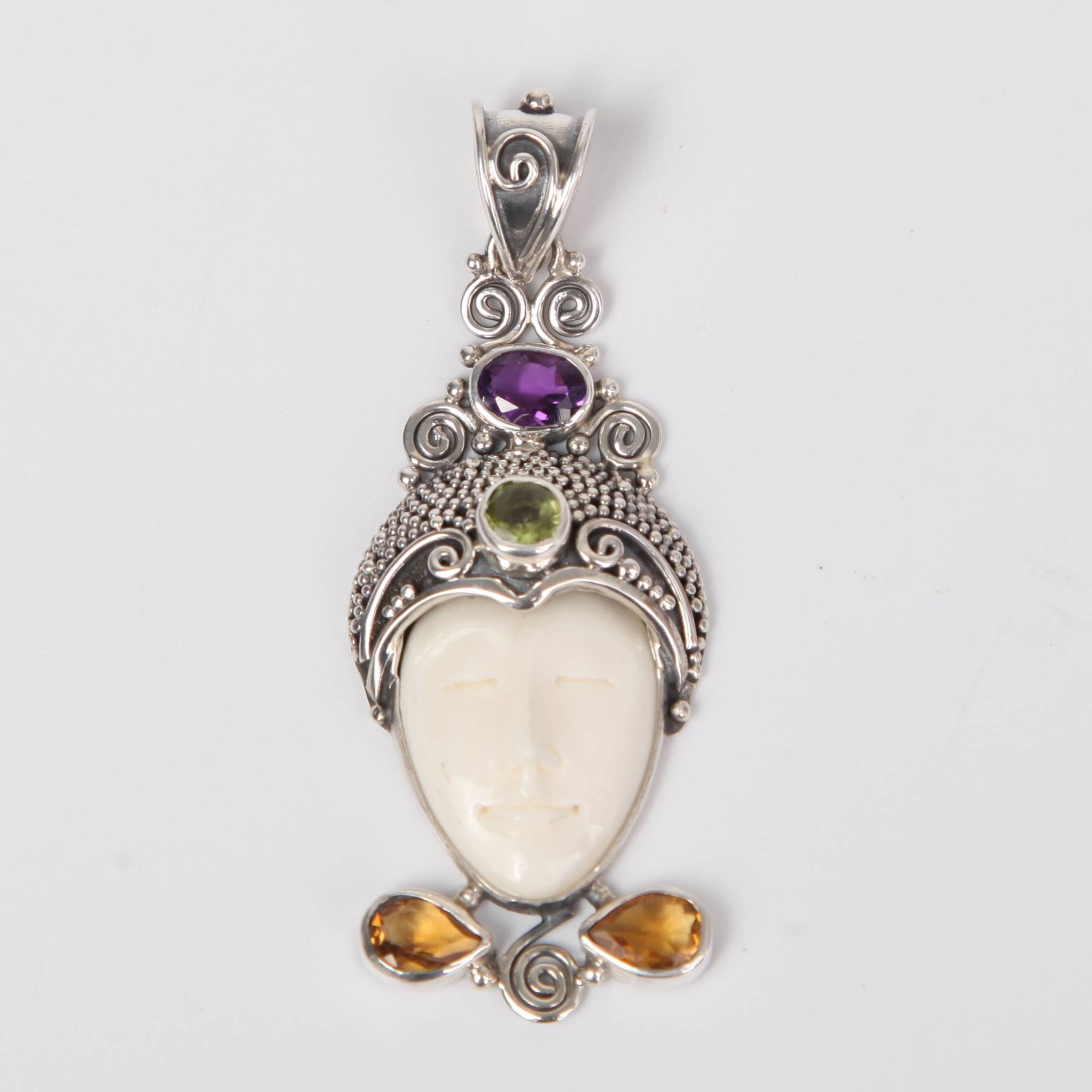 Buffalo Bone (Moon face) Sterling Silver Pendant with Citrine, Amethyst and Peridot