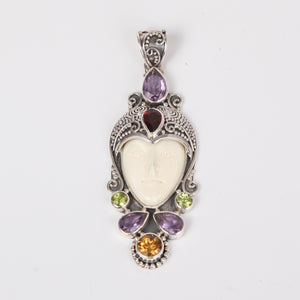 Buffalo Bone (Moon face) Sterling Silver Pendant with Amethyst, Garnet, Peridot and Citrine