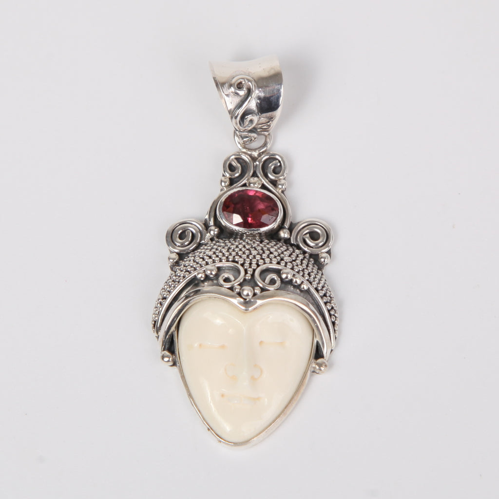 Buffalo Bone (Moon face) Sterling Silver Pendant with Garnet