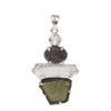 Moldavite (meteorite) Pendant with Crystal, Drusy Quartz, Rainbow Moon Stone and Sterling Silver