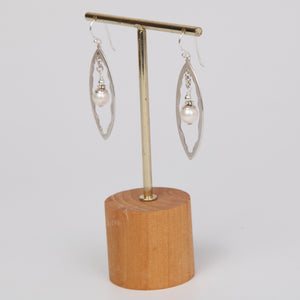 Oval Sterling Silver Earrings with Fresh Water Pearls