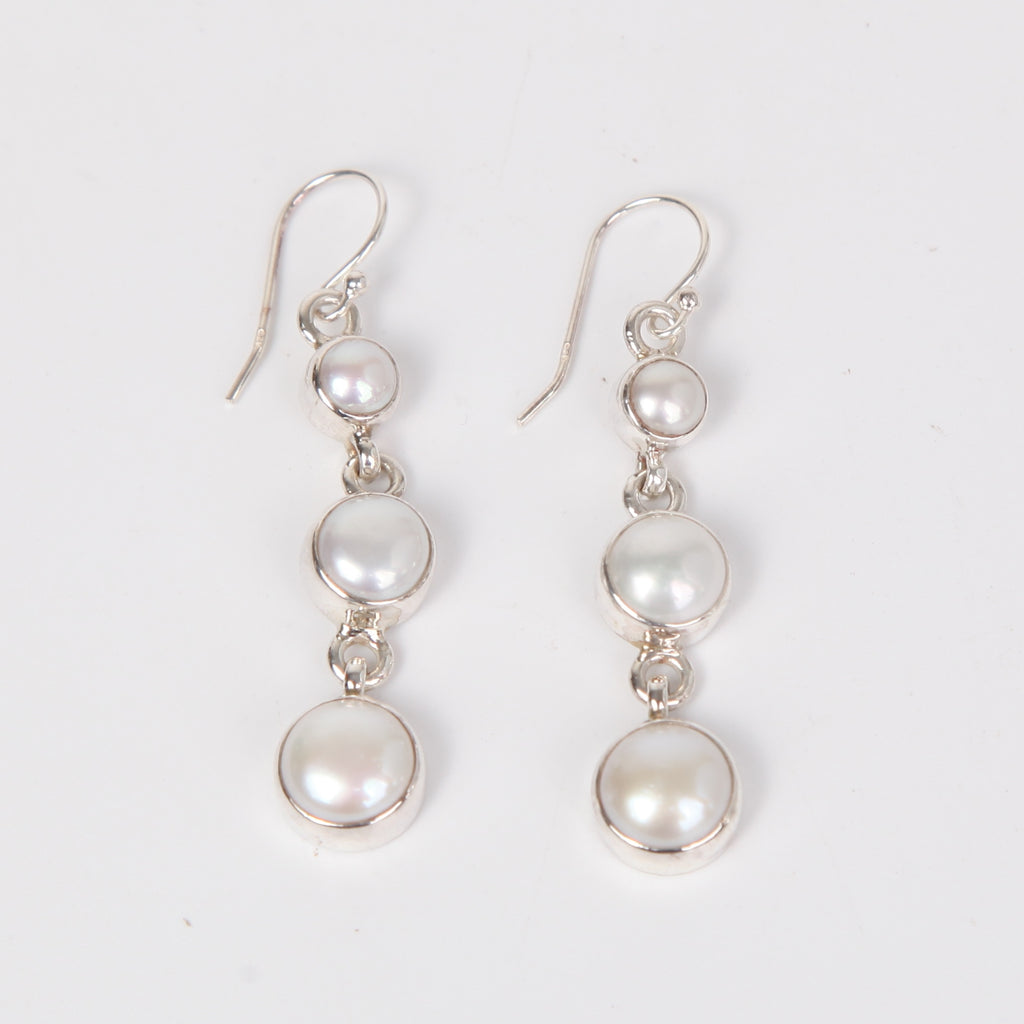 Drop Down Sterling Silver Earring with Fresh Water Pearls