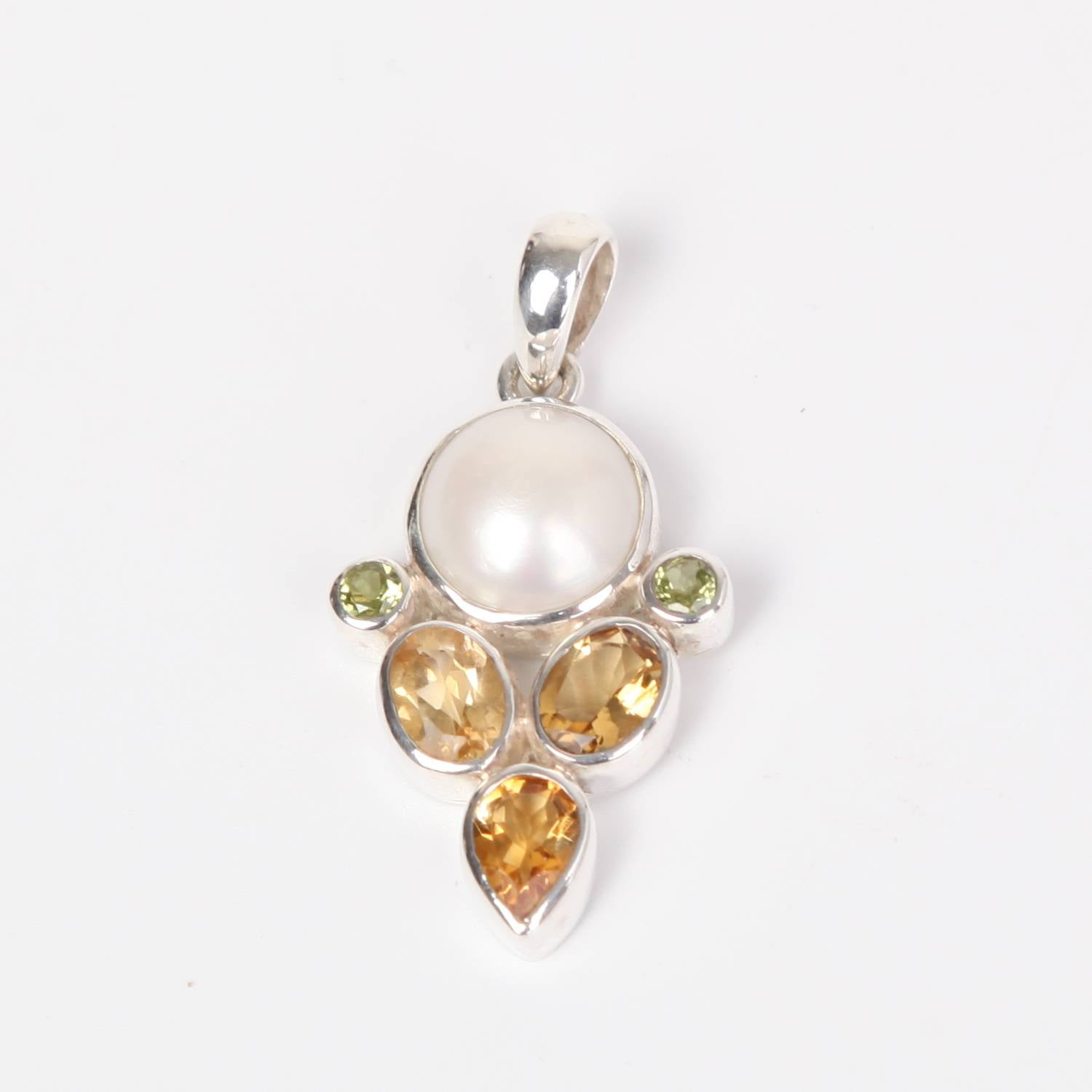 Sterling Silver Pendant with Citrine, Fresh Water Pearl and Peridot
