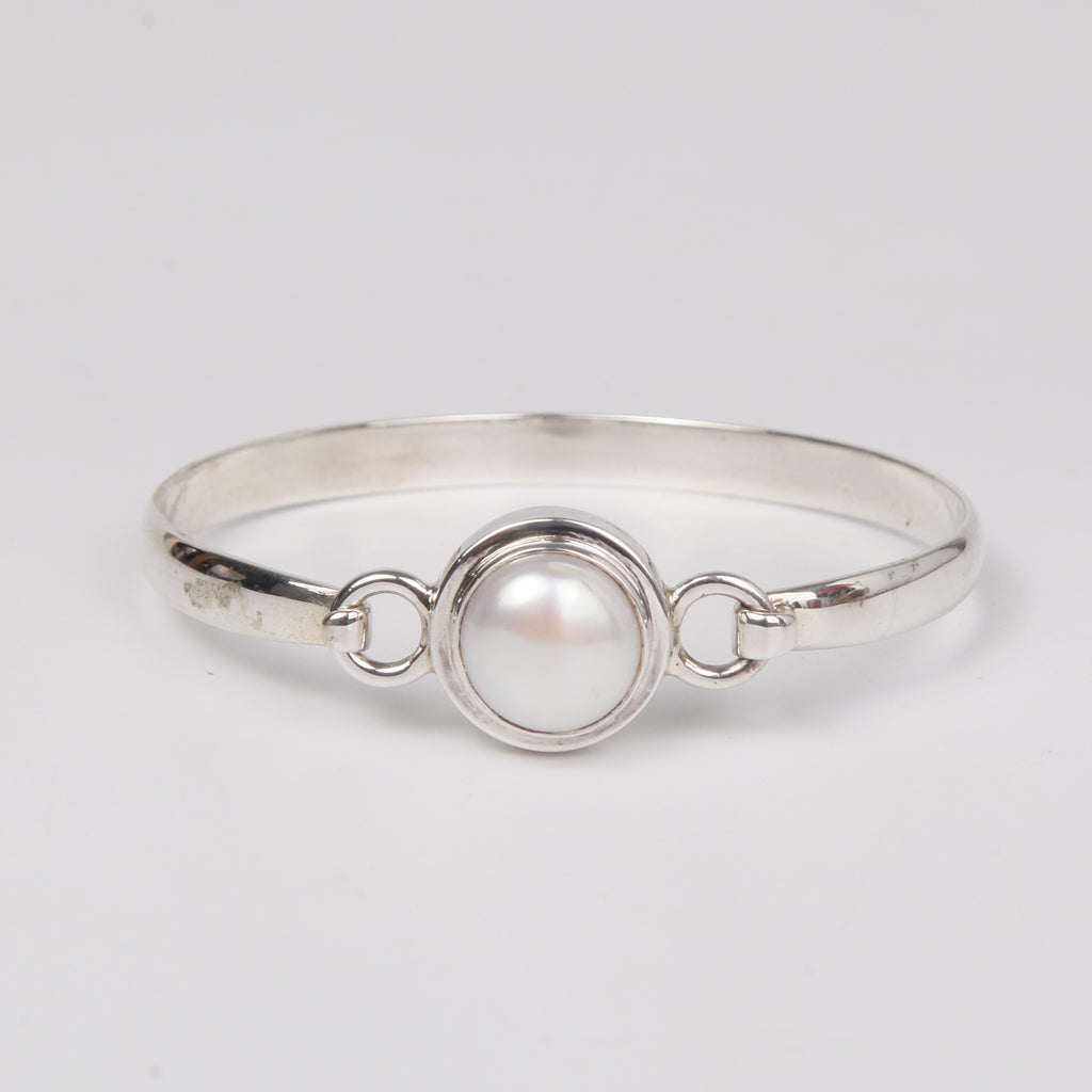 Sterling Silver Bangle with Single Fresh Water Pearl