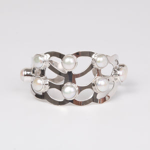 Sterling Silver Bangle with Fresh Water Pearls Small