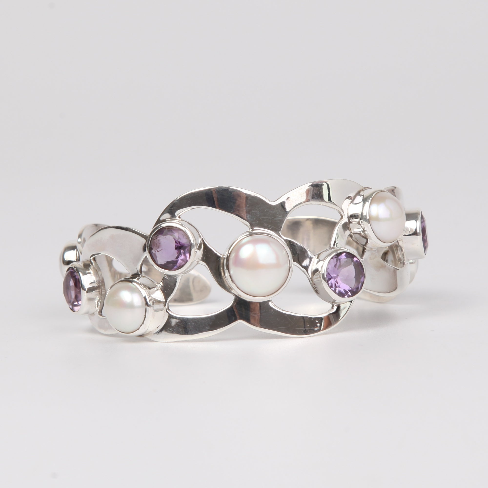 Sterling Silver Bangle with Fresh Water Pearls and Amethyst