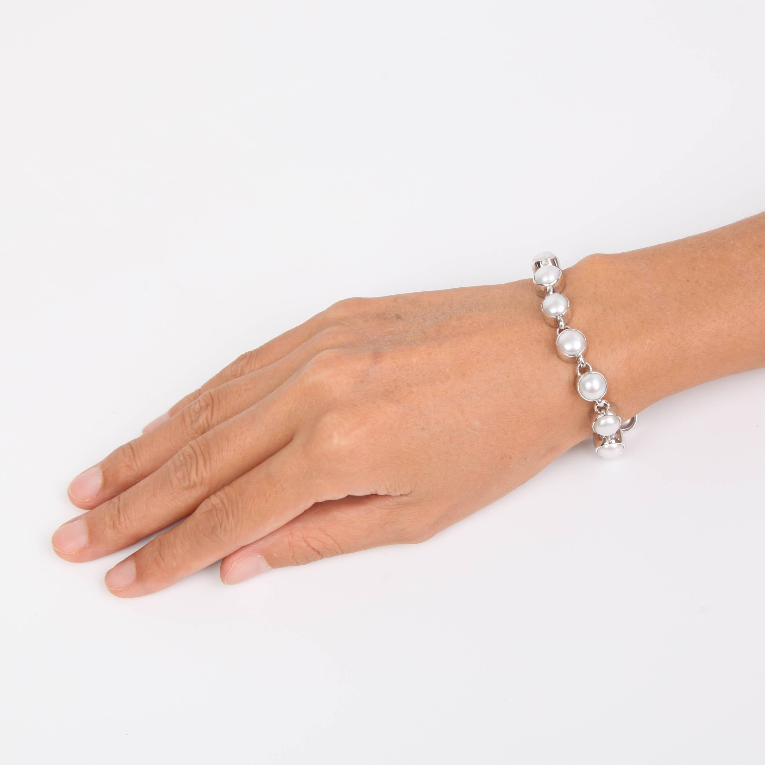 Sterling Silver Bracelet with Fresh Water Pearls Small