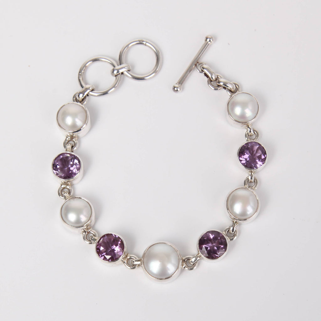 Sterling Silver Bracelet with Fresh Water Pearls and Amethyst