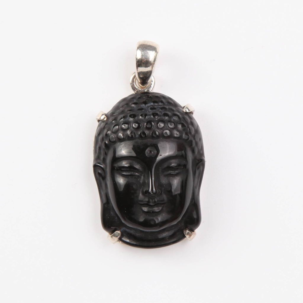 Obsidian Buddha Head Pendant with Sterling Silver Large