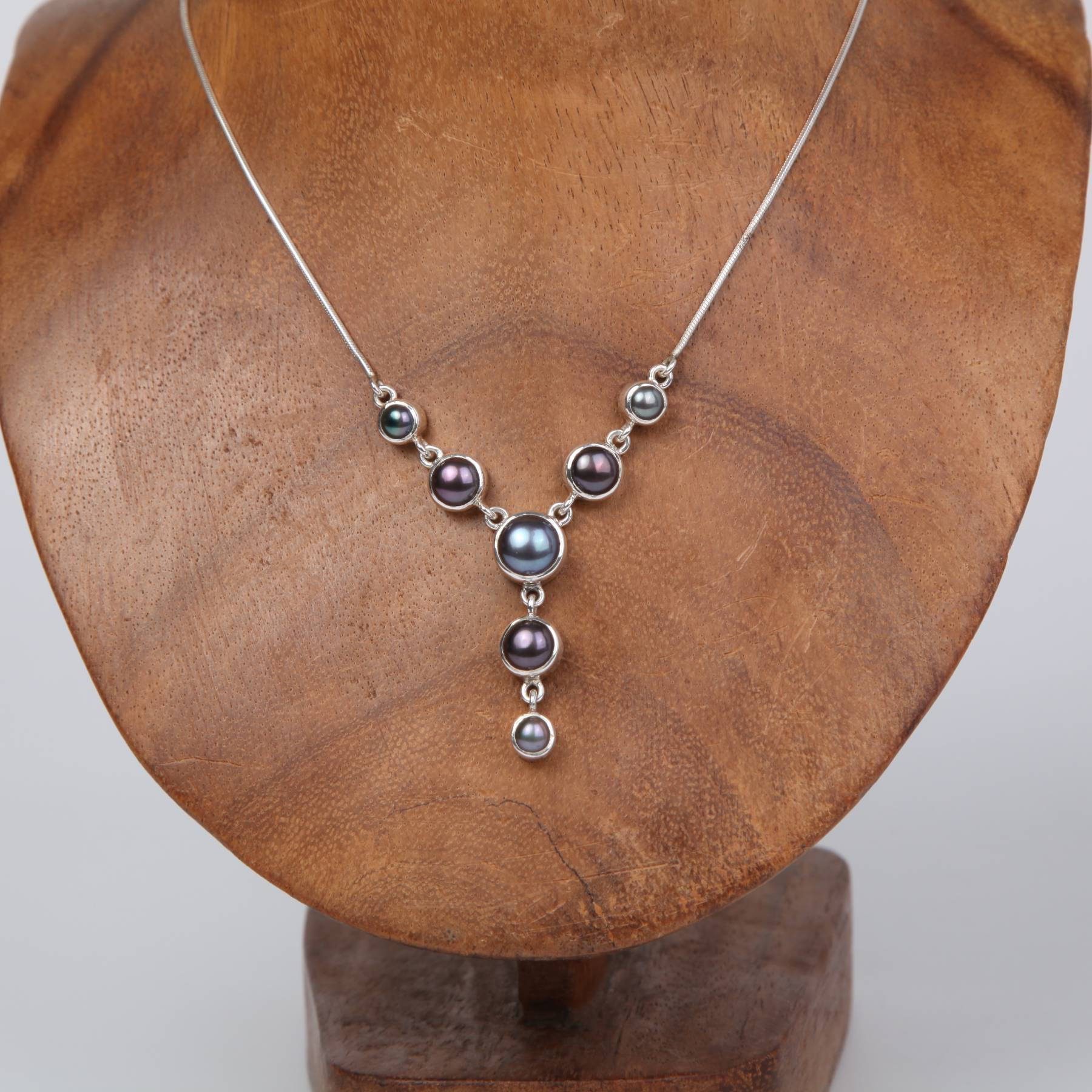 Dark Drop Down Sterling silver Necklace with Fresh Water Pearls