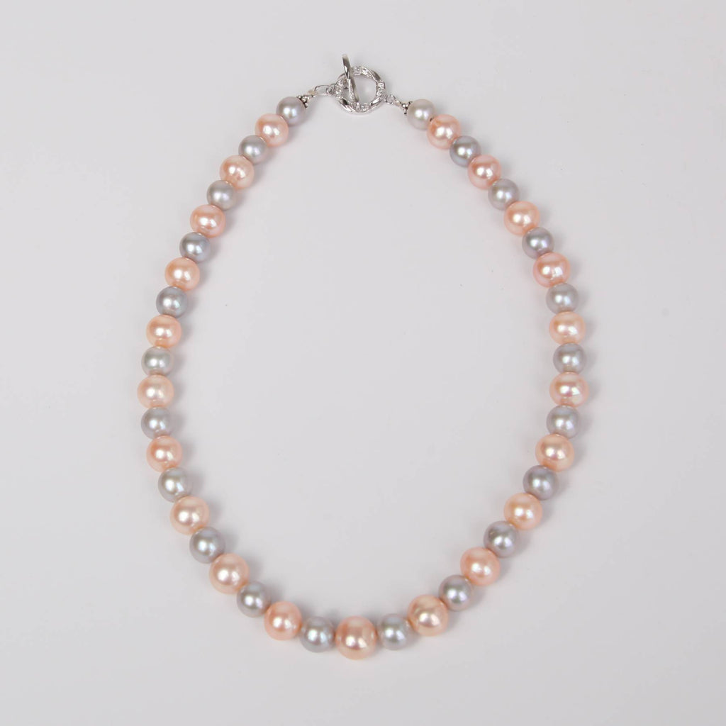 Light Two Tone Water Pearl Necklace with Sterling Silver