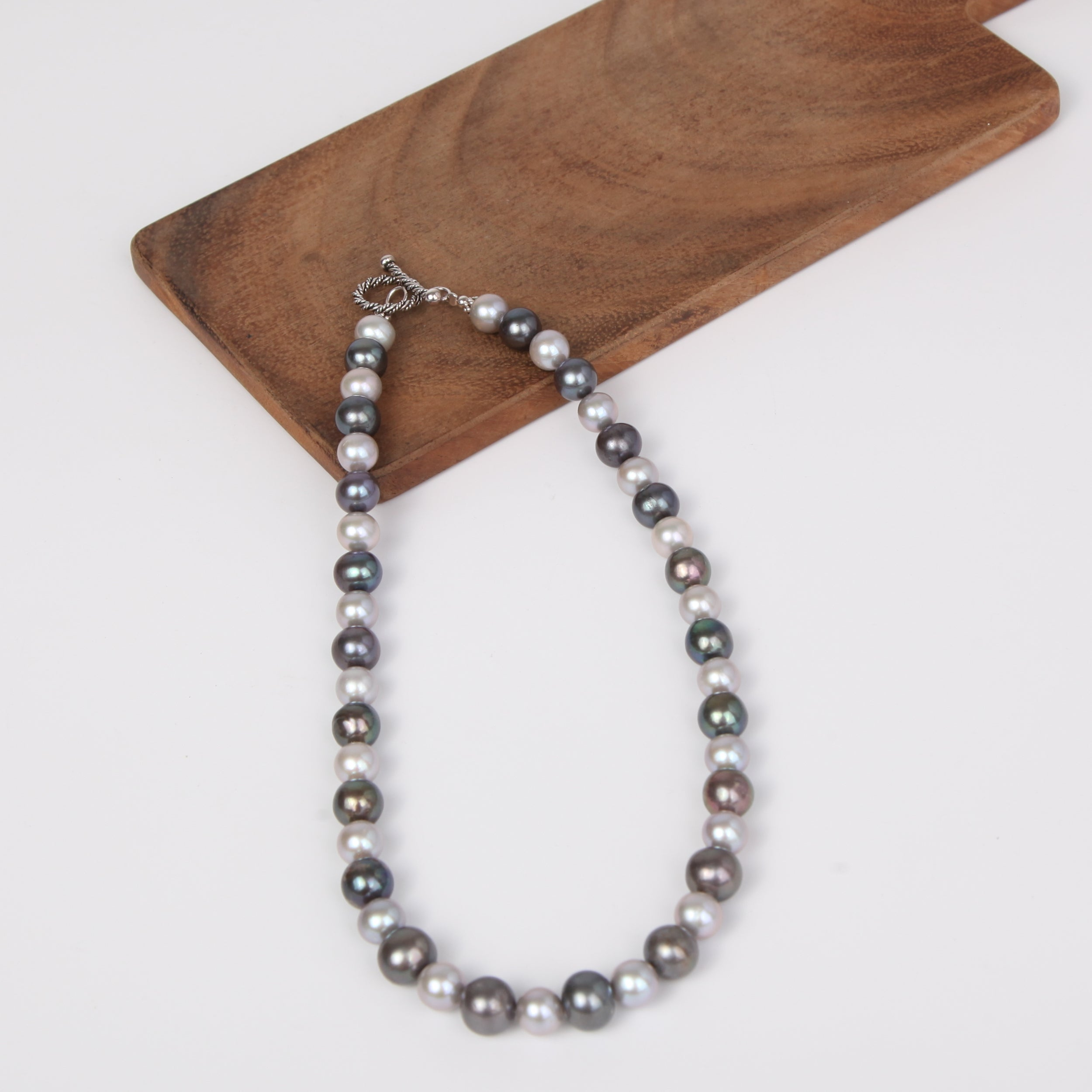Dark Two Tone Fresh Water Pearl Necklace with Sterling Silver