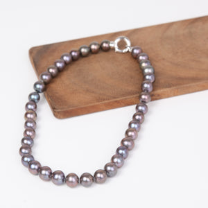 Dark Fresh Water Pearl Necklace with Sterling Silver