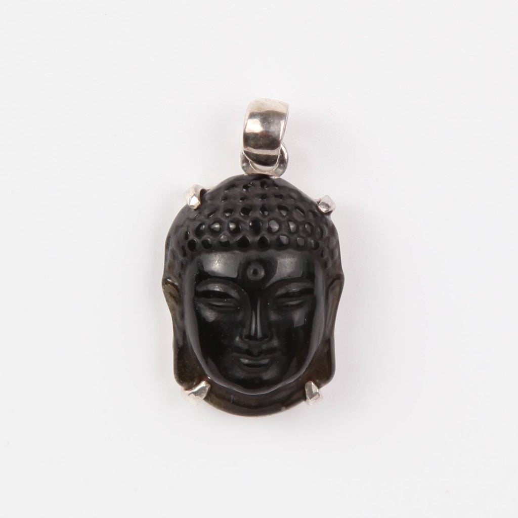 Obsidian Buddha Head Pendant with Sterling Silver Small