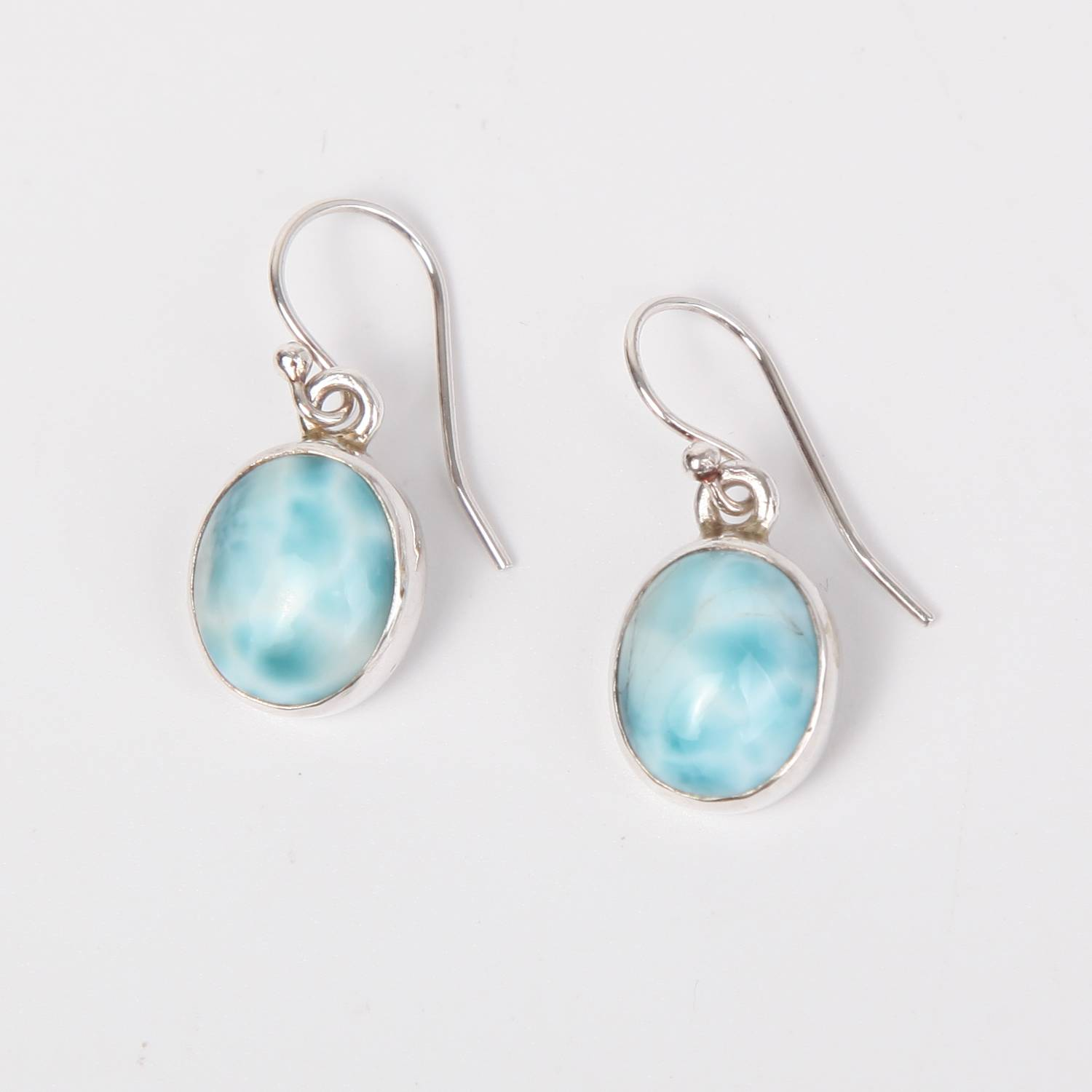 Sterling Silver Earrings with Larimar Stone