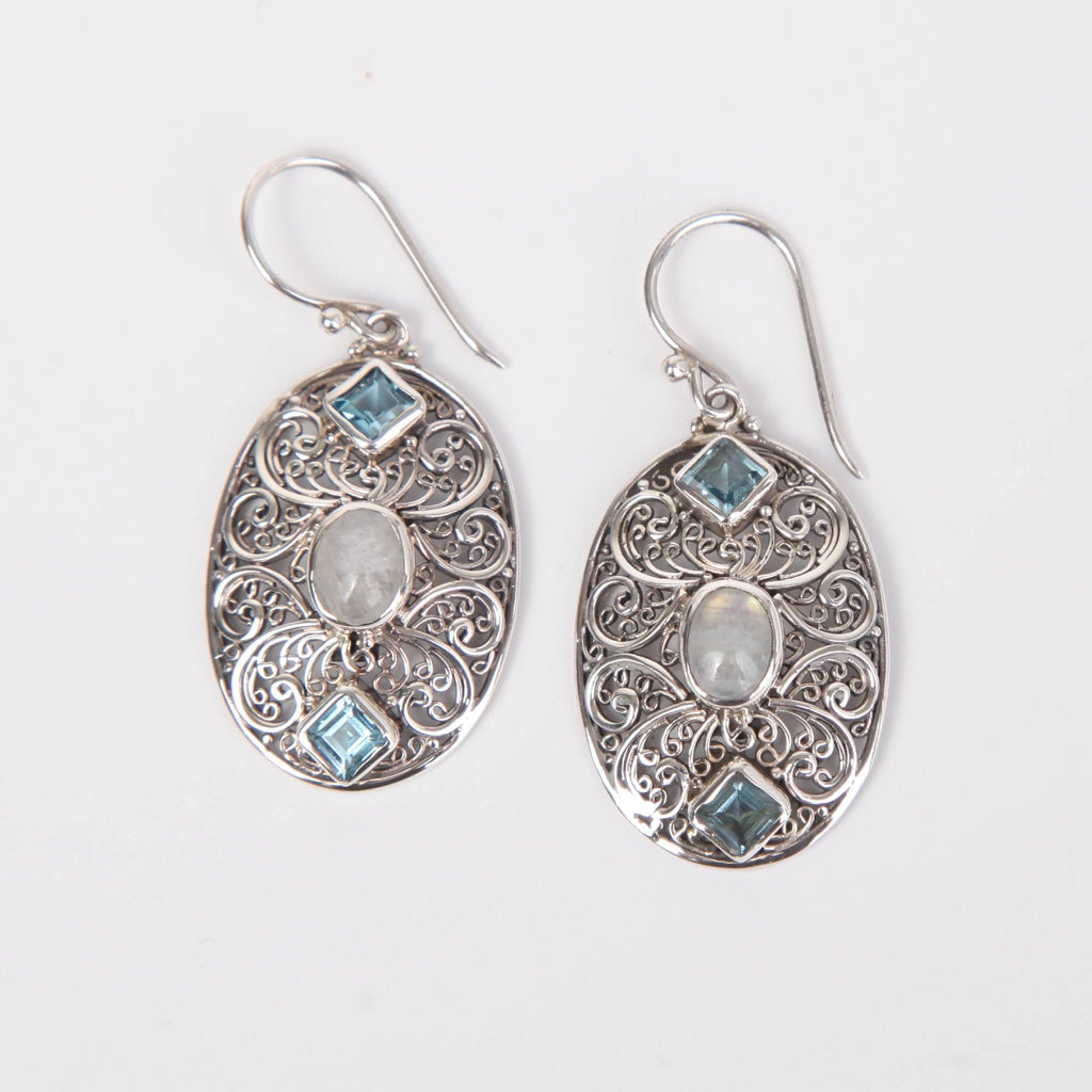 Sterling Silver Earrings with Rainbow Moon Stone and Blue Topaz