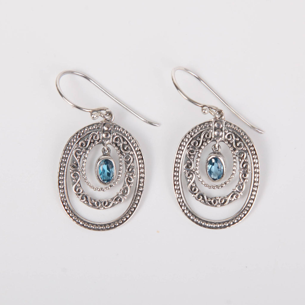 Sterling Silver Earrings with Blue Topaz Open