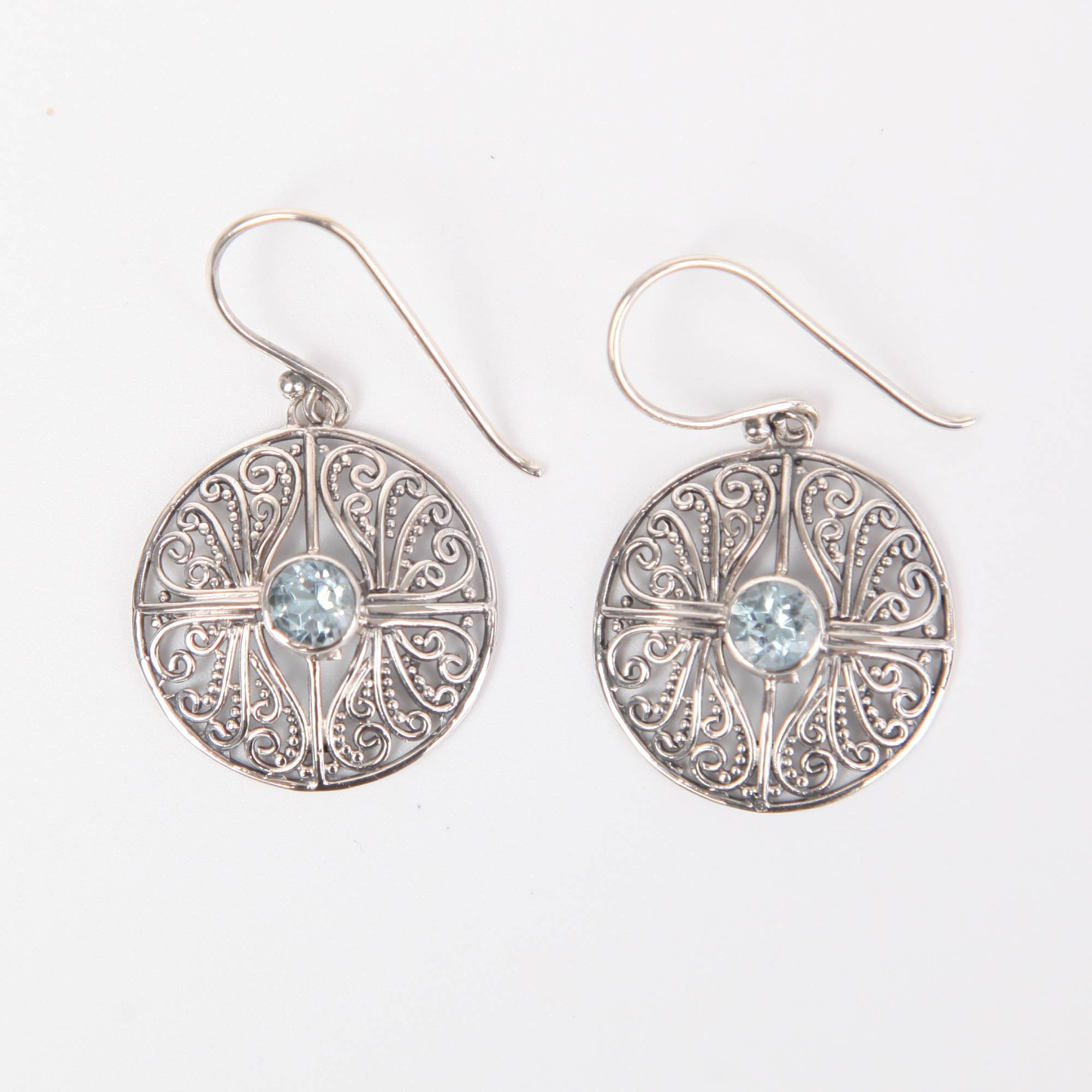 Sterling Silver Earrings with Blue Topaz Circle Small