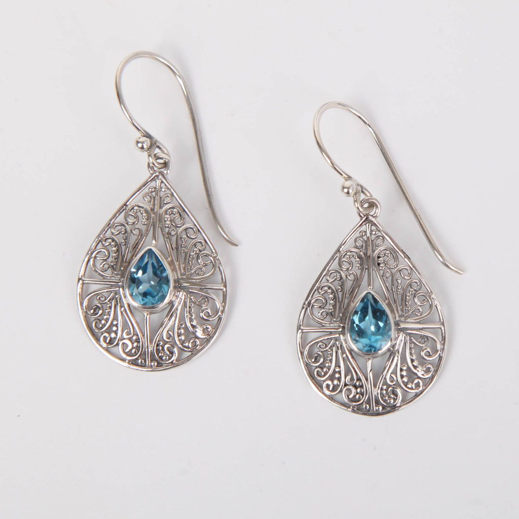 Sterling Silver Oval Earrings with Blue Topaz