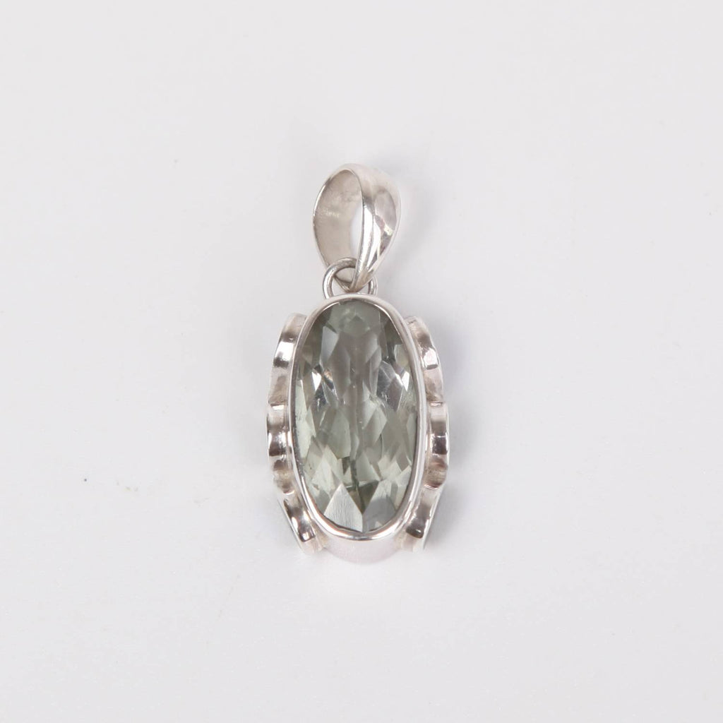 Sterling Silver Pendant with Green Amethyst and Paua Shell (Rainbow Abalone)