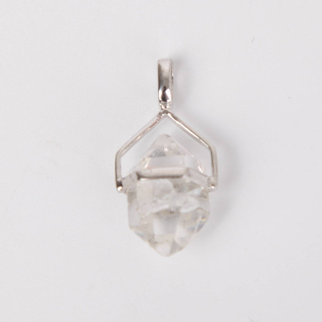 Sterling Silver Pendant with Herkimer Crystal Open
