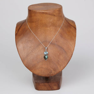 Sterling Silver Pendant with Labradorite and Blue Topaz