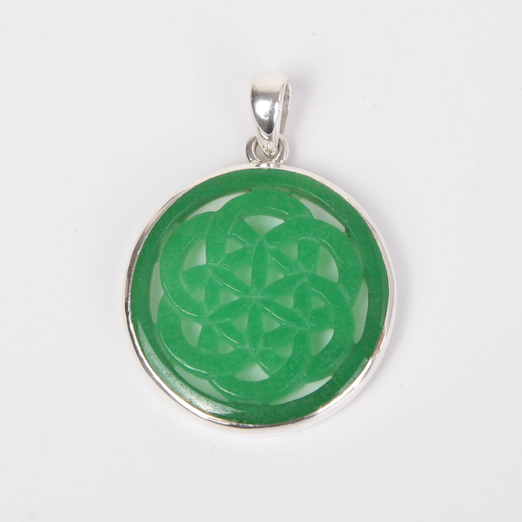 Sterling Silver Pendant with Green Crystal (Flower of Life)