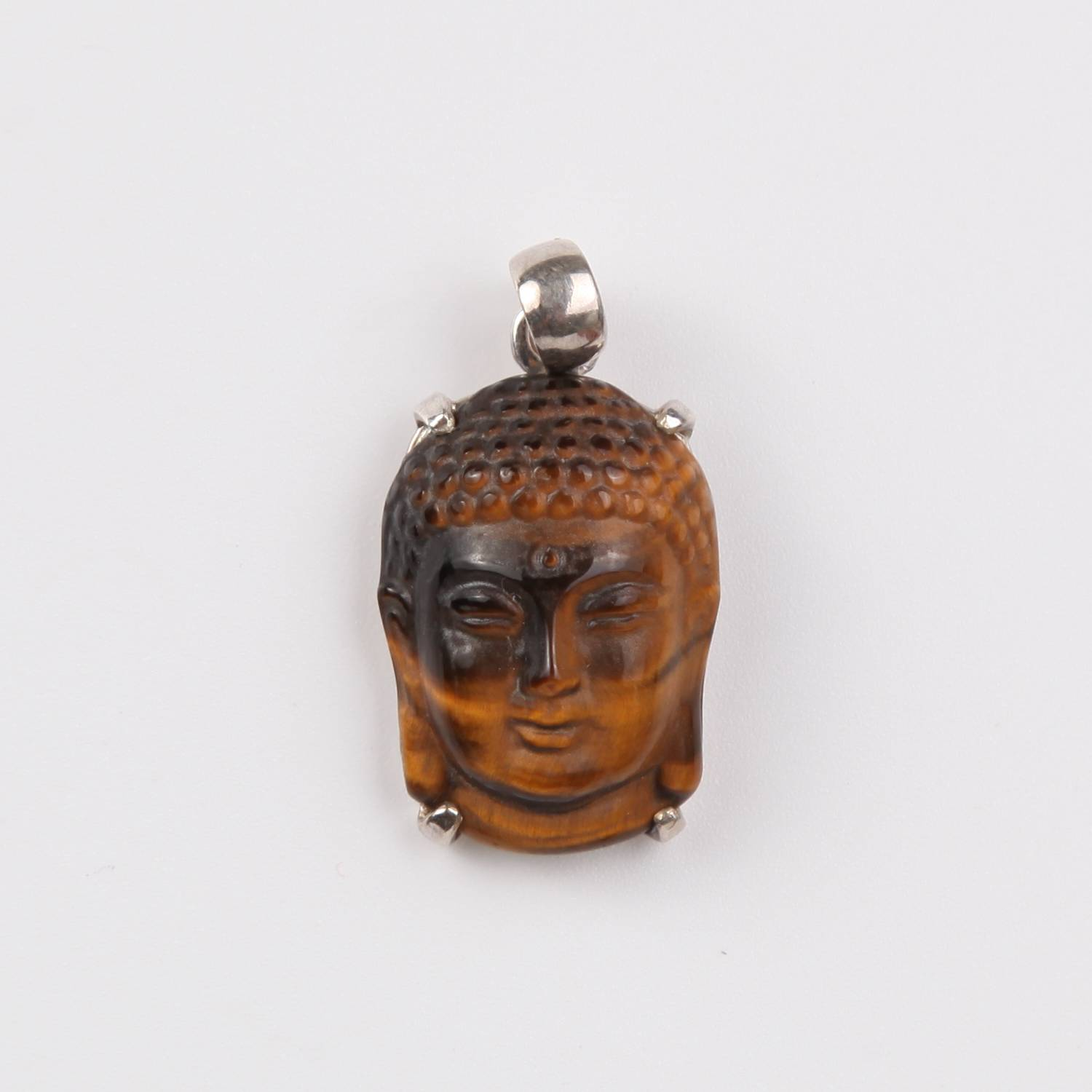 Tiger's Eye Buddha Head Pendant with Sterling Silver Small