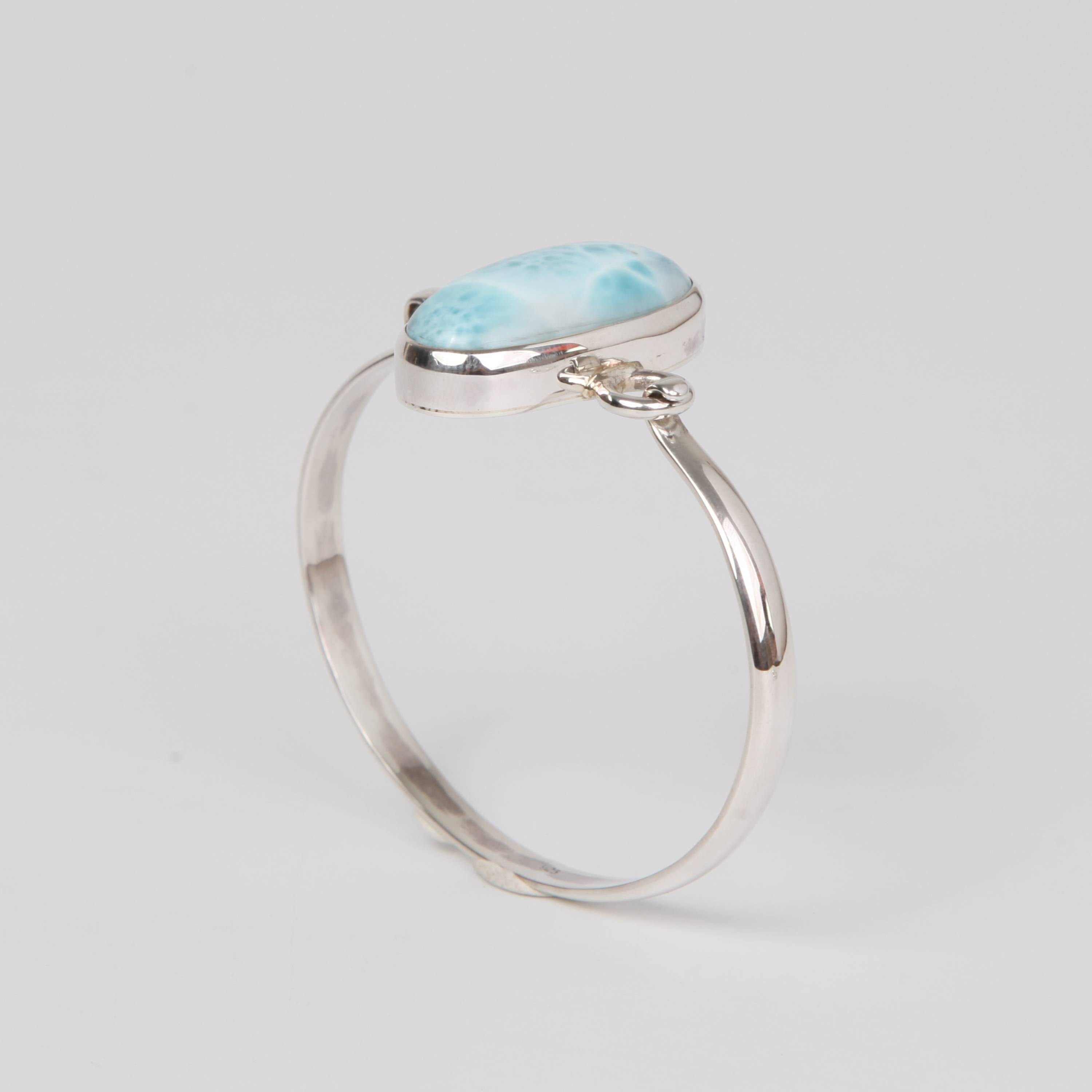 Sterling Silver Bangle with Larimar Stone