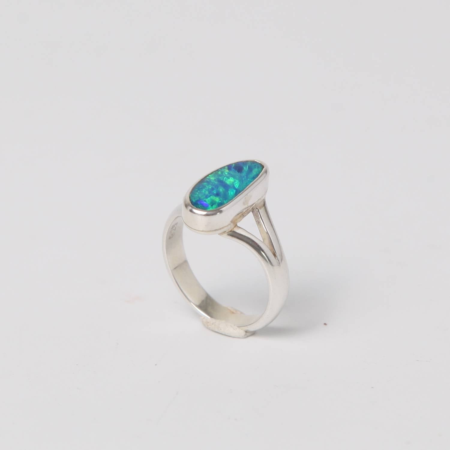 Sterling Silver Ring with Australian Opal Large