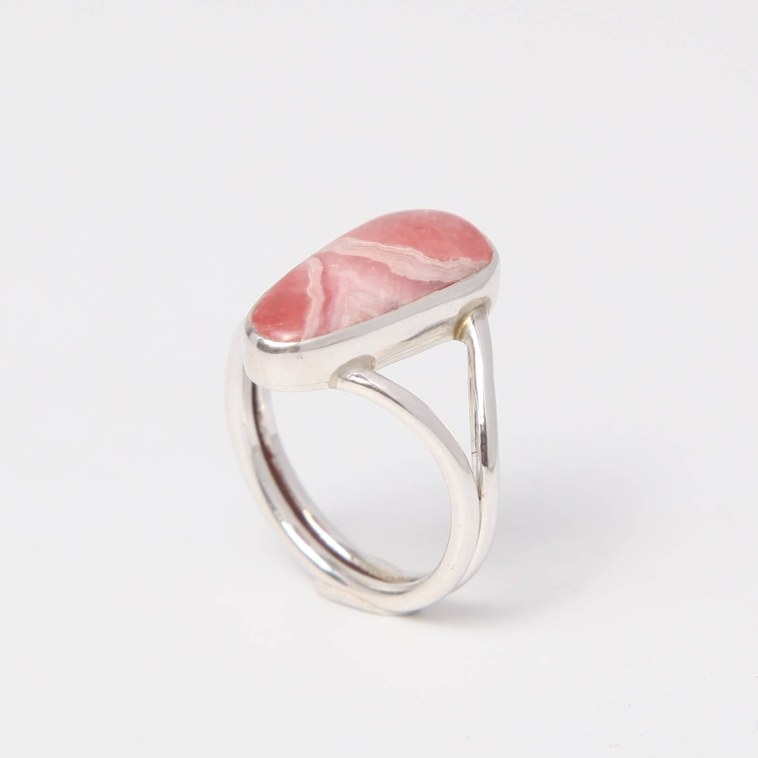 Sterling Silver Ring with Rhodocrosite