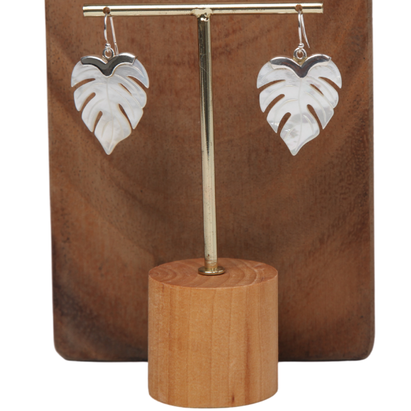 Leaf Mother of Pearl Earrings with Sterling Silver