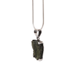 Moldavite (meteorite) Pendant with Sterling Silver Small