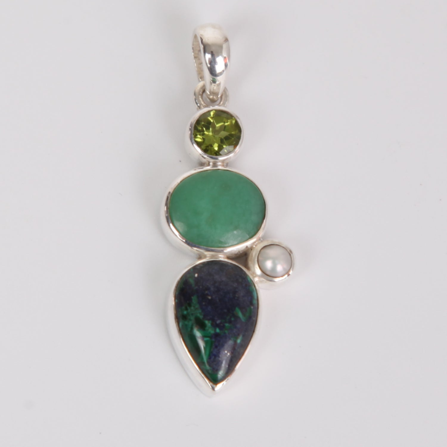 Azurite Malachite Sterling Silver Pendant with Chryosoprase