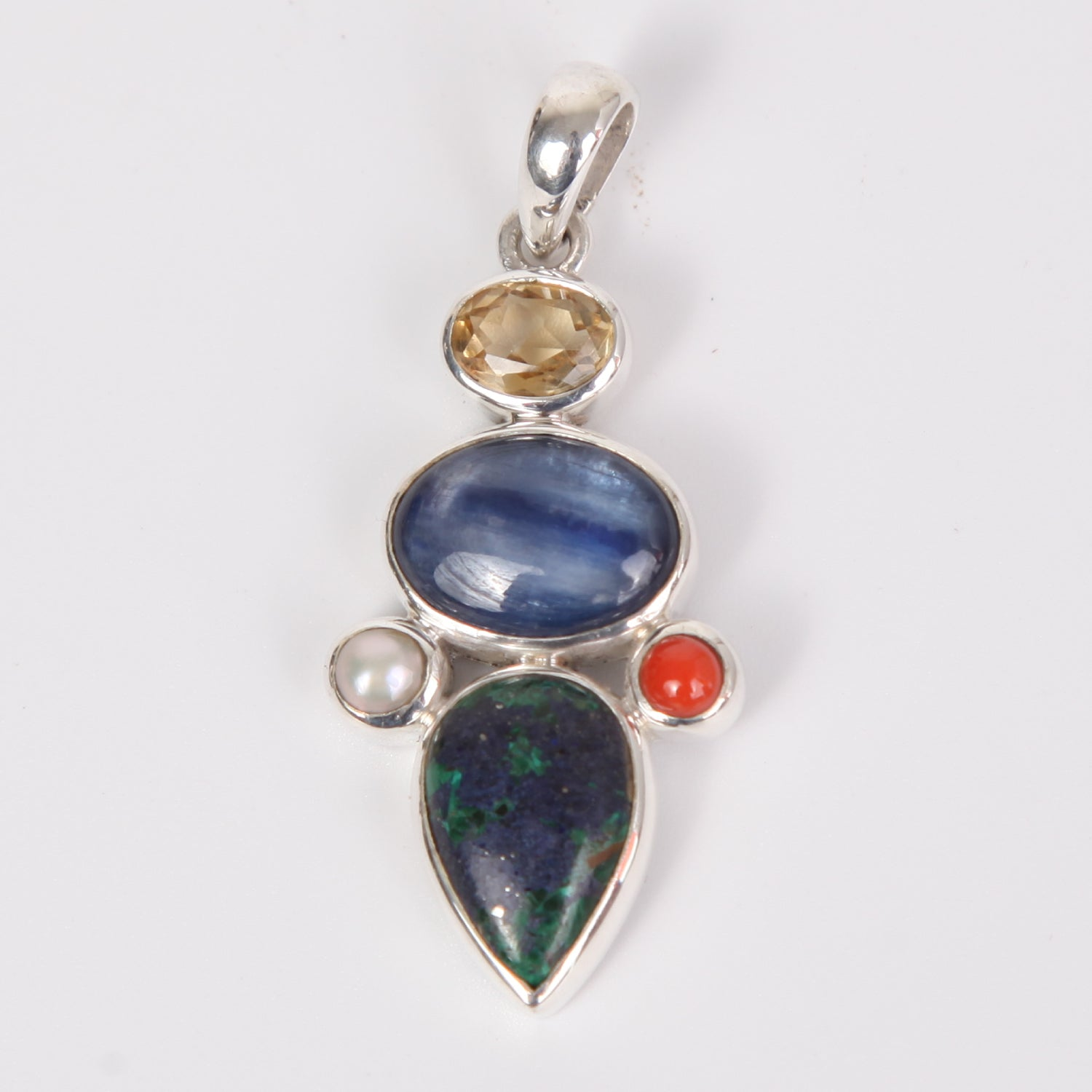 Azurite Malachite Sterling Silver Pendant with Red Coral